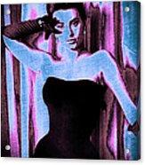 Sophia Loren - Blue Pop Art Acrylic Print by Absinthe Art By Michelle LeAnn Scott