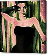 Sophia Loren - Pink Pop Art Acrylic Print by Absinthe Art By Michelle LeAnn Scott