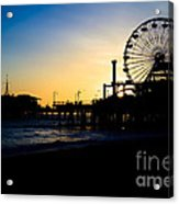 Southern California Santa Monica Pier Sunset Acrylic Print by Paul Velgos