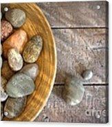 Spa Rocks In Wooden Bowl On Rustic Wood Acrylic Print by Sandra Cunningham