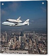 Space Shuttle Endeavour Over Houston Texas Acrylic Print by Movie Poster Prints