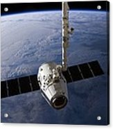 Spacex Dragon Capsule At The Iss Acrylic Print by Science Photo Library