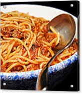 Spaghetti And Meat Sauce With Spoon Acrylic Print by Andee Design