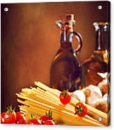 Spaghetti Pasta With Tomatoes And Garlic Acrylic Print by Amanda And Christopher Elwell