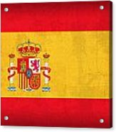 Spain Flag Vintage Distressed Finish Acrylic Print by Design Turnpike