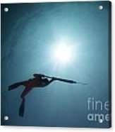 Spearfishing Silhouette Acrylic Print by Cade Butler