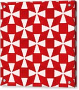 Spice Twirl- Red And White Pattern Acrylic Print by Linda Woods
