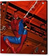 Spiderman Swinging Through The Air Acrylic Print by John Telfer