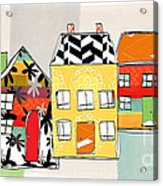 Spirit House Row Acrylic Print by Linda Woods