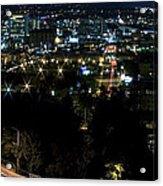 Spokane Washington Skyline At Night Acrylic Print by Daniel Hagerman