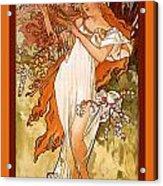 Spring Acrylic Print by Alphonse Maria Mucha