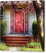 Spring - Door - Westfield Nj - Pink Acrylic Print by Mike Savad
