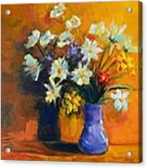 Spring Flowers In A Vase Acrylic Print by Patricia Awapara