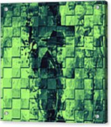 Square Mania - Old Man - Limeblue Acrylic Print by Emerico Imre Toth