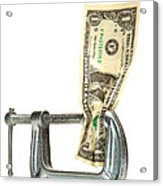 Squeezing The Dollar Acrylic Print by Olivier Le Queinec
