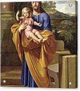 St. Joseph Carrying The Infant Jesus Acrylic Print by Pierre  Letellier