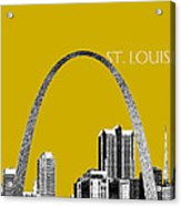 St Louis Skyline Gateway Arch - Gold Acrylic Print by DB Artist