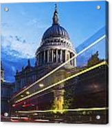 St. Pauls Cathedral And Light Trails Acrylic Print by Mark Thomas