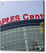 Staples Center Sign In Los Angeles California Acrylic Print by Paul Velgos