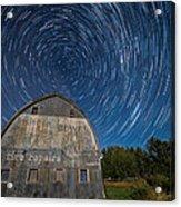 Star Trails Over Barn Acrylic Print by Paul Freidlund