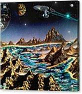 Star Trek - Orbiting Planet Acrylic Print by Michael Rucker