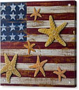 Starfish On American Flag Acrylic Print by Garry Gay