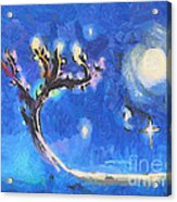 Starry Tree Acrylic Print by Pixel  Chimp