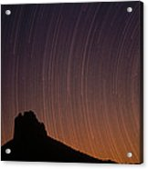 Startrails Over Shiprock In The Four Acrylic Print by Tim Fitzharris