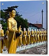 Statue Of Buddha And Disciples Are Alms Round Acrylic Print by Tosporn Preede