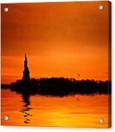 Statue Of Liberty At Sunset Acrylic Print by John Farnan