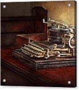 Steampunk - A Crusty Old Typewriter Acrylic Print by Mike Savad