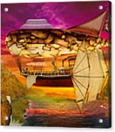 Steampunk - Blimp - Everlasting Wonder Acrylic Print by Mike Savad
