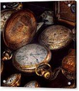Steampunk - Clock - Time Worn Acrylic Print by Mike Savad