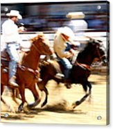 Steer Wrestling Acrylic Print by Bill Keiran