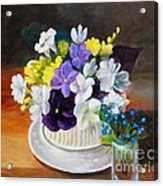 Still Life Freesias And Pansies Acrylic Print by Sherrill McCall