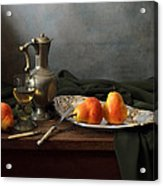 Still Life With A Jug And Roamer And Pears Acrylic Print by Helen Tatulyan