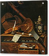 Still Life With Musical Instruments Acrylic Print by Pieter Gerritsz van Roestraten
