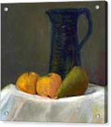 Still Life With Pitcher And Fruit Acrylic Print by Sandy Linden