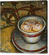 Still Life With Red Cruiser Bike Acrylic Print by Mark Howard Jones