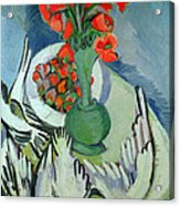 Still Life With Seagulls Poppies And Strawberries Acrylic Print by Ernst Ludwig Kirchner
