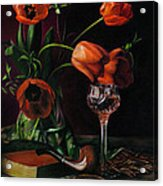 Still Life With Tulips - Drawing Acrylic Print by Natasha Denger