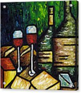 Still Life With Wine And Cheese Acrylic Print by Kamil Swiatek