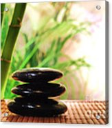 Stone Cairn Acrylic Print by Olivier Le Queinec