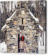 Stone Chapel In The Woods Trapp Family Lodge Stowe Vermont Acrylic Print by Edward Fielding