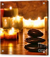 Stones Cairn And Candles Acrylic Print by Olivier Le Queinec