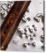 Stop Sign Bullet Holes Acrylic Print by Adam Pender