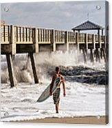 Storm Surfer Acrylic Print by Laura Fasulo
