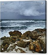 Stormy Sky And Ocean Waves Acrylic Print by Julie Palencia