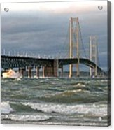 Stormy Straits Of Mackinac Acrylic Print by Keith Stokes