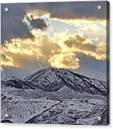 Stormy Sunset Over Snow Capped Mountains Acrylic Print by Tracie Kaska